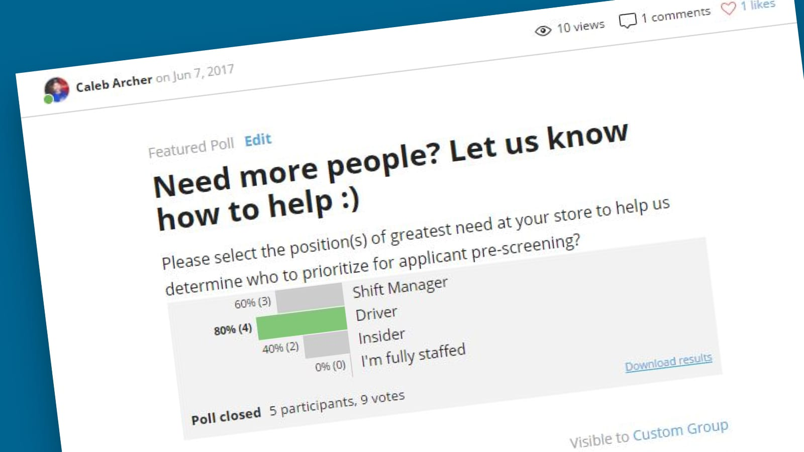 M&G using Polls to manage resources