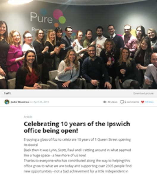 Vibrant NEWS on Pure's intranet