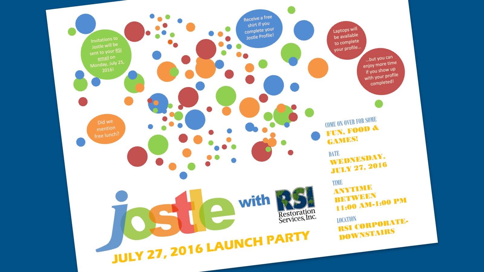 RSI's invitation to their Jostle Launch Party