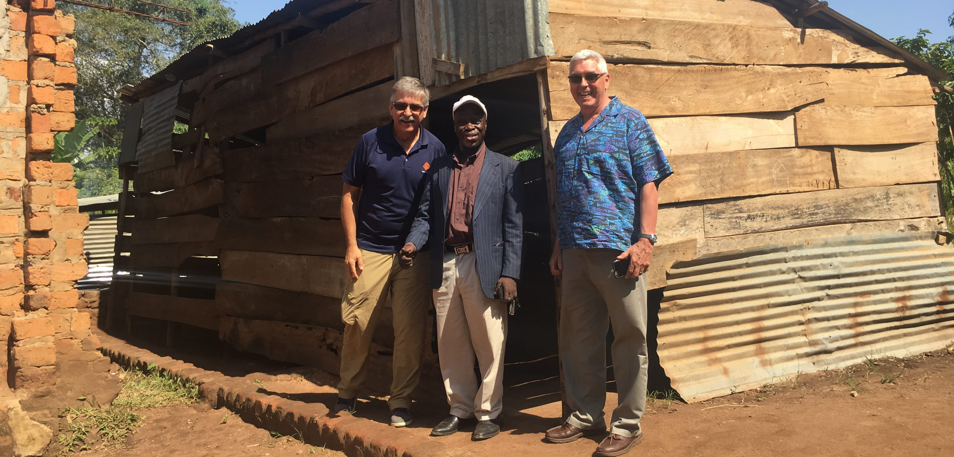 Silvacom founding partners, Bob and Tom, at Amazing Grace Orphanage School in Uganda