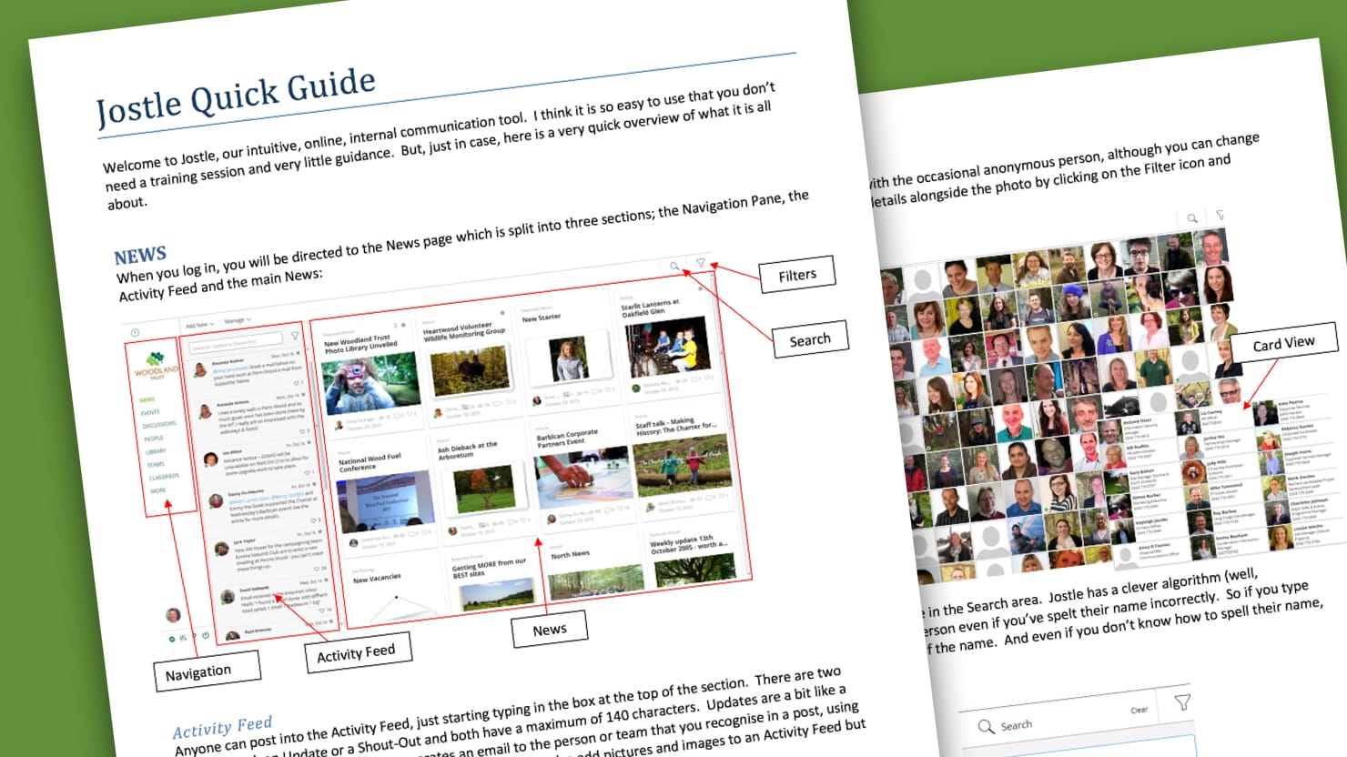 Woodland Trust created a short and simple user guide before rolling out their new intranet